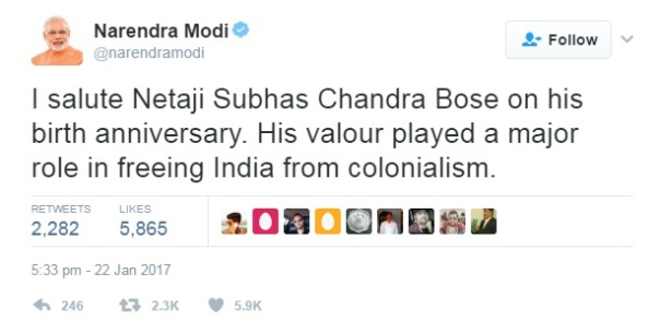 Modi's tweet on Bose birth anniversary