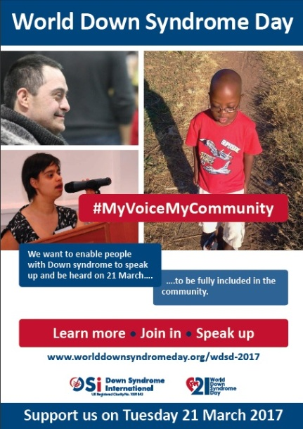World Down Syndrome Day, #MyVoiceMyCommunity