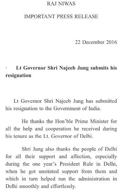 Najeeb Jung Resigned