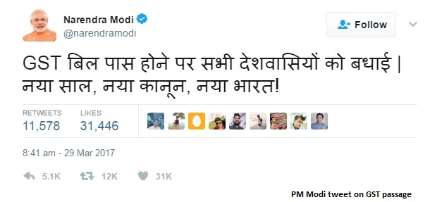 PM Tweet On GST passage