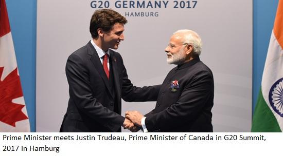 Prime Minister Modi meets Justin Trudeau, Prime Minister of Canada =