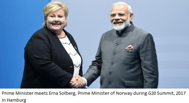 Prime Minister Modi meets Erna Solberg, Prime Minister of Norway =