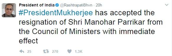 President Mukherjee accepted the resignation of Manohar Parrikar