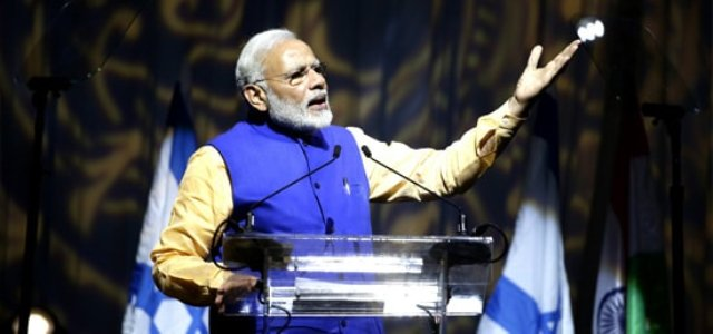 Modi addresses the Indian community in Tel Aviv =