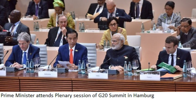 Prime Minister Modi attends Plenary session of G20 Summit in Hamburg=