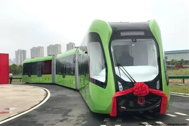 China unveils world's first 'railless' train