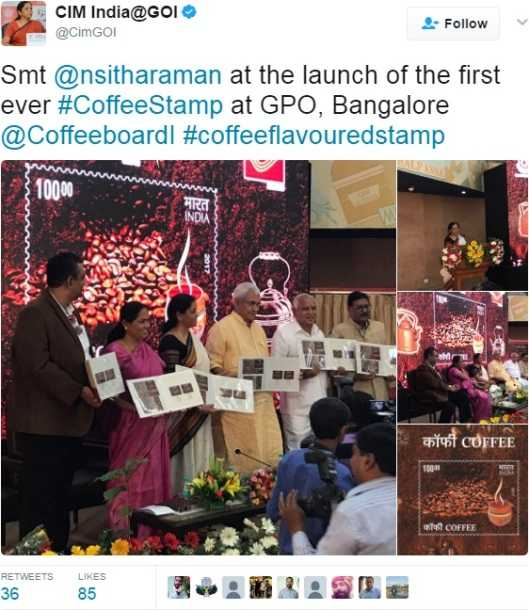 Sitharaman at launch of Postage Stamp on Coffee, Postage stamp dedicated to coffee released