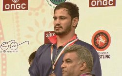Harpreet Singh won bronze in Greco-Roman weight category
