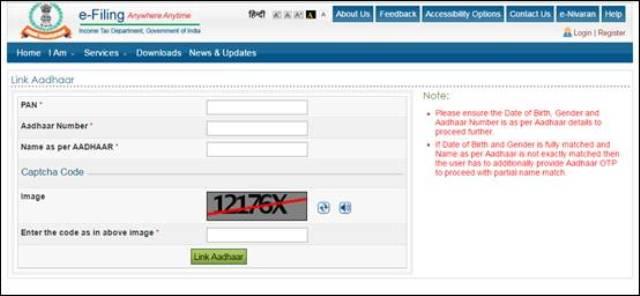 linking PAN with Aadhaar