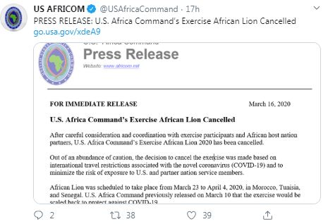 US-Africa Command canceled annual military exercise 1