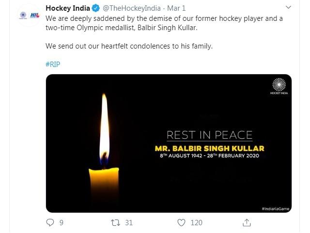 Olympic bronze medalist Balbir Singh Kullar passes away 1