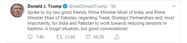 Donald Trump asks Imran Khan to 'moderate rhetoric', after phone call with PM Modi