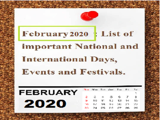 Important Days in February 2020| National and International Days
