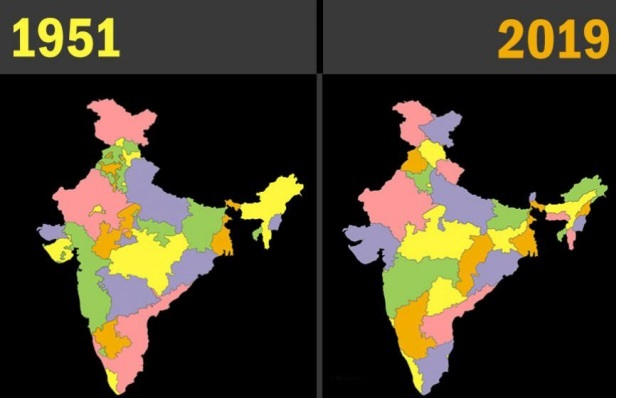History and date of formation of Indian states since 1947