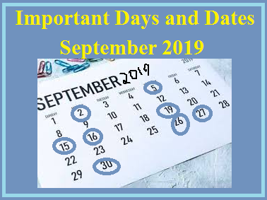 Important Days in September 2019: National and International