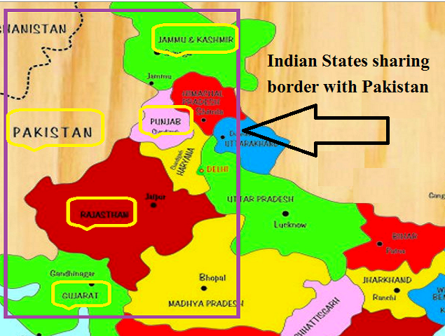 Which States of India share boundaries with Pakistan?