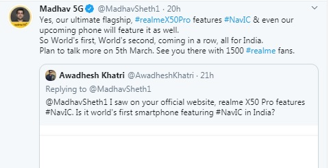NavIC in Realme X50 Pro? Company claims to be first in the world to use ISRO's technology 2