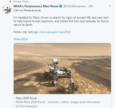 NASA names Rover for Mars 2020 Mission 1