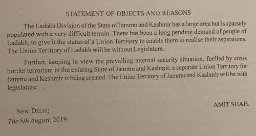 Article 370 scrapped Jammu-Kashmir Bifurcated