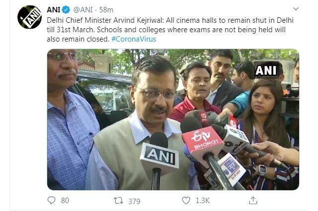 Delhi Government announces closure of all schools, colleges and cinema theatres till March 31st 1