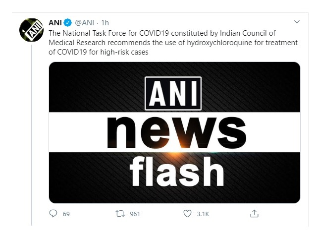 ICMR's task force recommends use of hydroxychloroquine for COVID-19 treatment 1