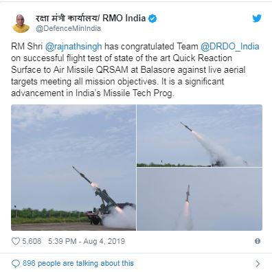 DRDO successfully test-fires QRSAM, all-weather missile