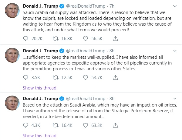 Trump reaction on Saudi Oil Attack