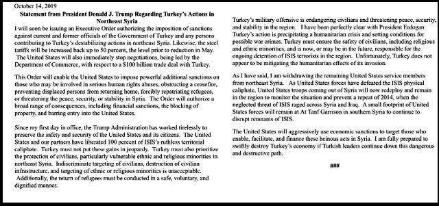Turmp's statement over sanctions on Turkey