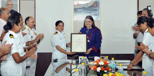 Image result for INSV Tarini team conferred Nari Shakti Puraskar 2017