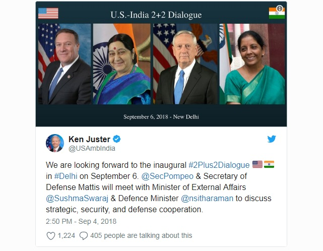 India, US 2+2 dialogue to be held in Delhi