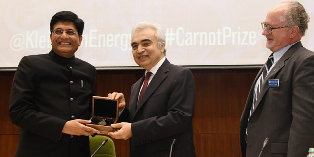 Image result for Railway Minister PiyushGoyal awarded 4th annual Carnot Prize