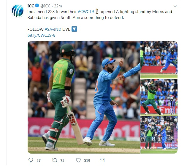 India vs South Africa ICC Cricket World Cup 2019 Live