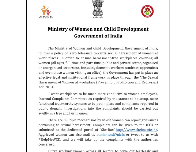 WCD Ministry to set up panel to look into all #MeToo cases