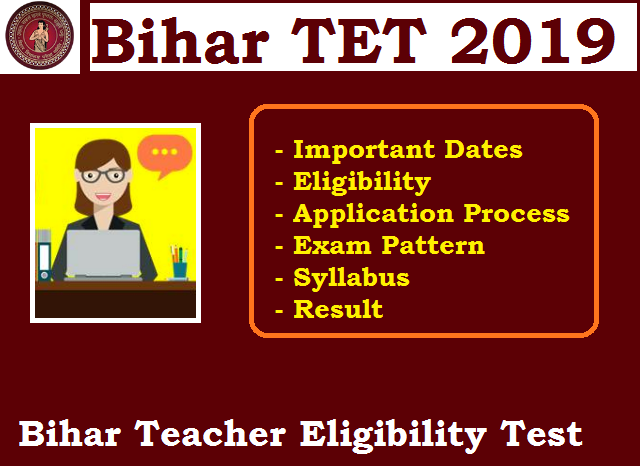 Bihar TET Notification 2019 @bsebstet2019 in: Application