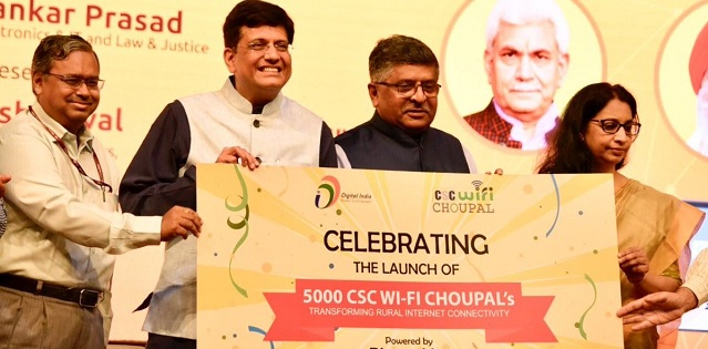 Image result for Union Government launches 5000 Wi-Fi Choupals in villages
