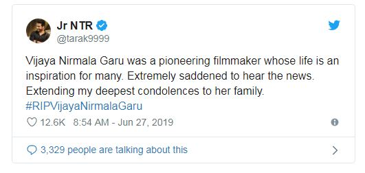 Vijaya Nirmala, Actress-Director, dies at 75