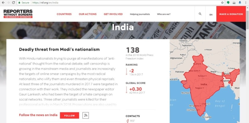 india in press freedom report
