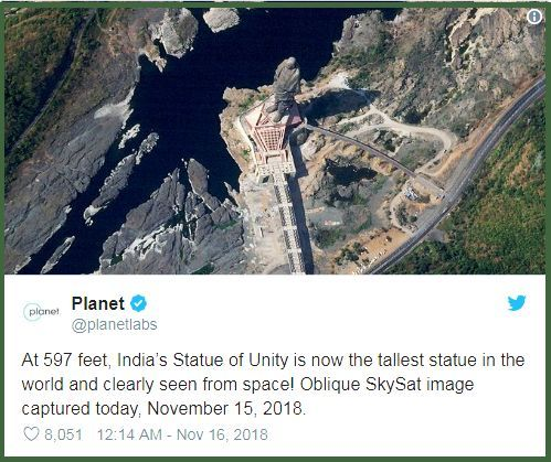 India's Statue of Unity visible from space